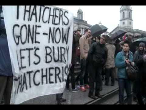 Anti Margaret Thatcher party in Trafalgar square (Guardian)