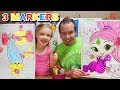 3 Marker Challenge w/ My DAD! GIANT Coloring Books! Trolls & Shimmer and Shine!!