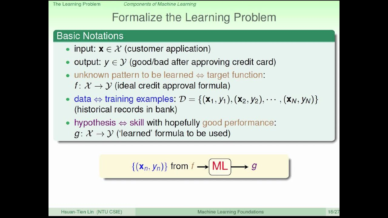 The Learning Problem :: Components of Learning @ Machine Learning Foundations (機器學習基石) - YouTube
