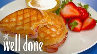 How to Make Grilled Ham and Cheese Waffle Sandwiches | Recipe | Well Done