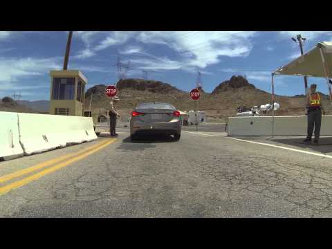 Hoover Dam from Henderson Nevada, Police Checkpoint, No Firearms Allowed, GP023875