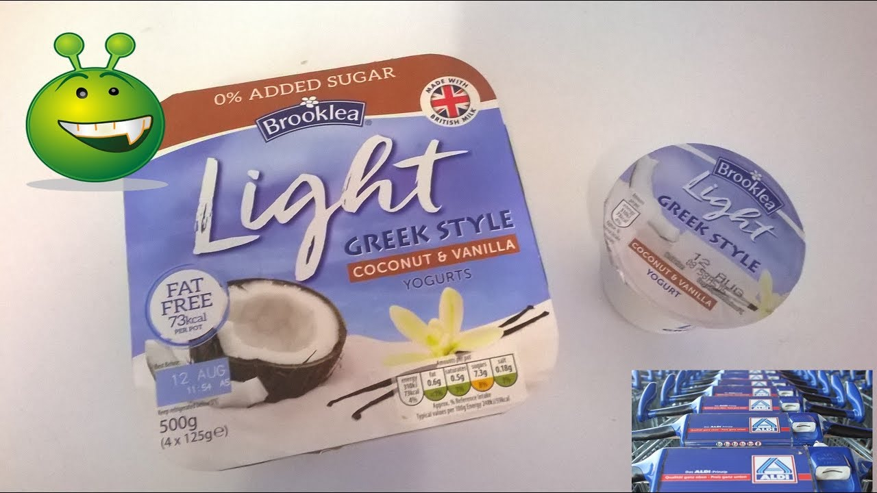 New From Aldi Brooklea Light Greek Style Coconut Vanilla Low Fat Yogurts Youtube