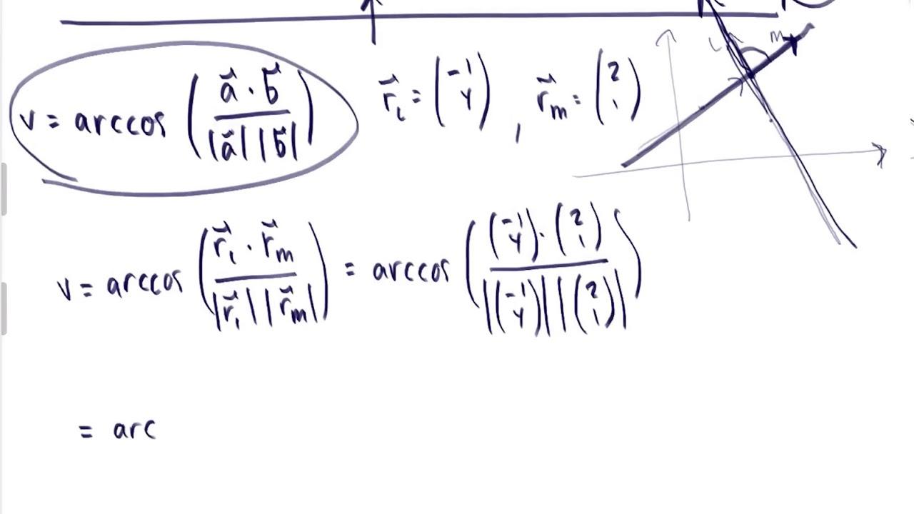Vinkel mellem linjer beskrevet ved parameterfremstillinger