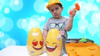 Yusuf pretend play with Giant Surprise Eggs | Five little monkeys nursery rhymes songs