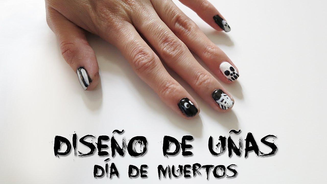 Diseño de Uñas! Día de Muertos (Fáciles y Bonitas) - YouTube