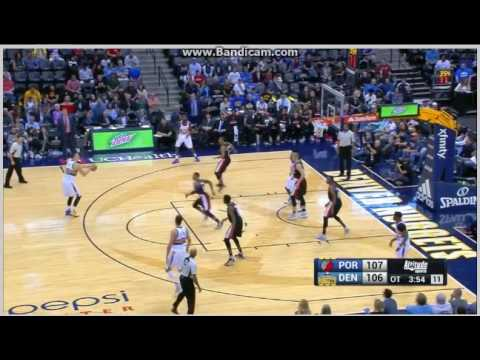 Nikola Jokic perfect 3-pointer in OT -  Denver Nuggets vs. Portland Trail Blazers - NBA - 29/10/2016