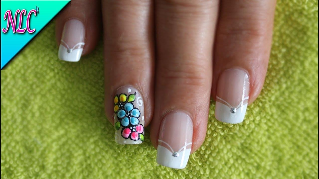 DECORACIÓN DE UÑAS FLORES Y FRANCÉS♥ - FLOWERS NAIL ART♥ - FRENCH ...
