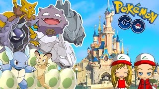 pokemon go capture de pokemon rare et eclosion d oeufs  disneyland vlog pokemon go 3
