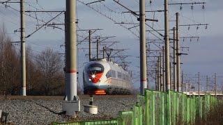 [RZD] «Sapsan» high-speed trains near the Volkhov river brid…