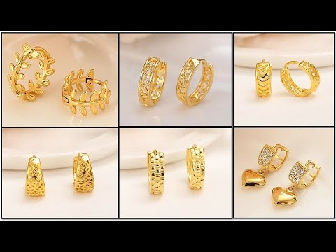 New Simple and Light Weight Dubai Gold Dangle Earring Collection / Daily Wear Gold Earring Design