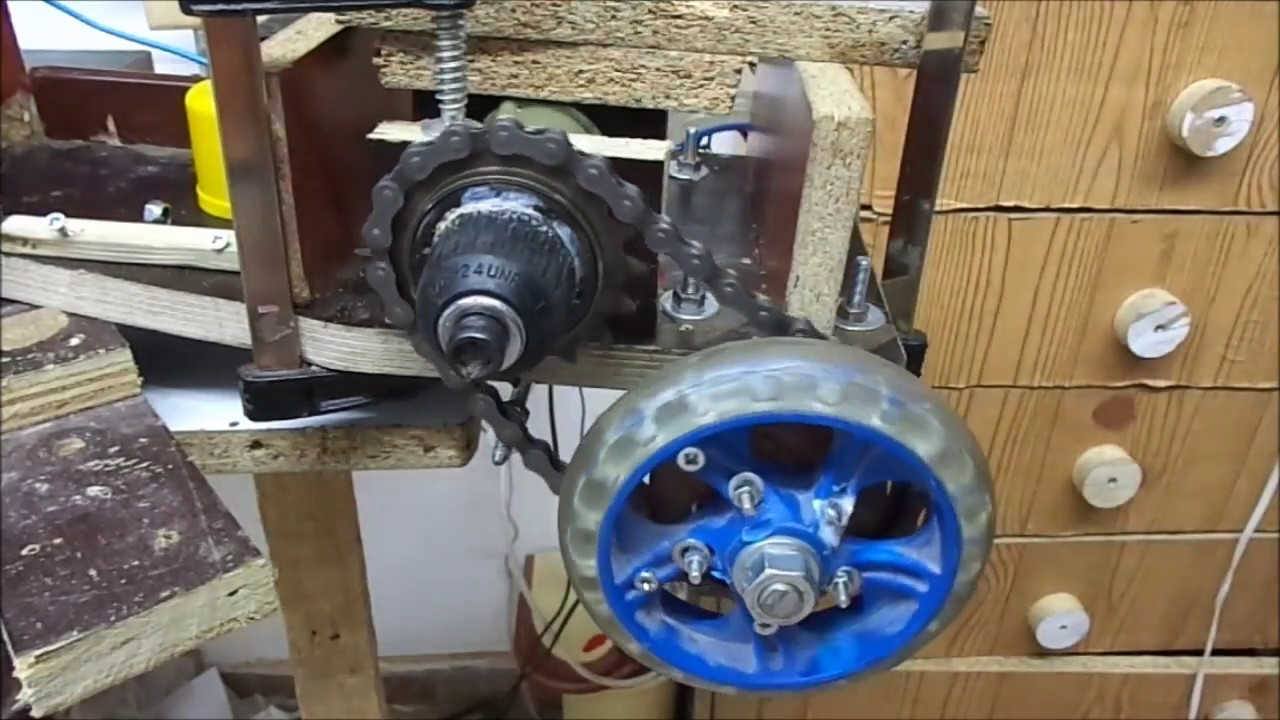 Drill Motor Hack And Gear For E Scooter Or E Bike Youtube