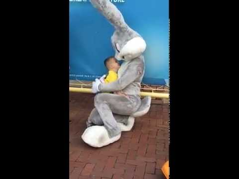 Adorable boy with his favorite mascot at Six Flags the great adventure