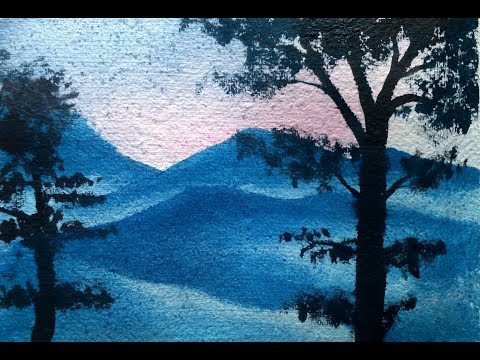 PAINTING MOUNTAINS LANDSCAPE – WATERCOLOR PAINTING – TREE