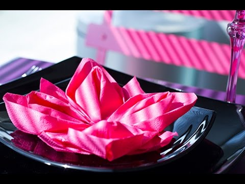Diy Pliage De Serviette Facile Fleur De Lotus Origami Youtube
