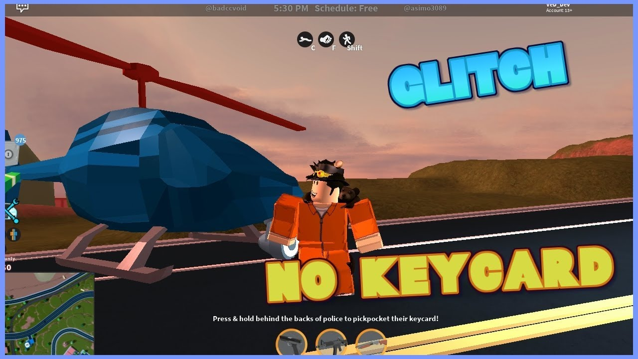 Roblox Jailbreak How To Get Helicopter Without Keycard Glitch Youtube