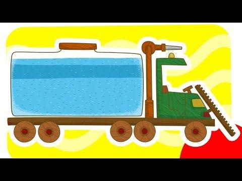 Carros de brinquedo. Um Limpador de ruas.  Desenho animado para criancas.