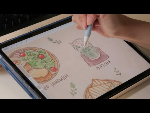 Procreate 카페 브런치 일러스트 | Cafe brunch illust process (Ipad drawing)
