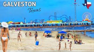Walking in Galveston Beach in Galveston, Texas USA (South of Houston) | Beach Waves Sounds!