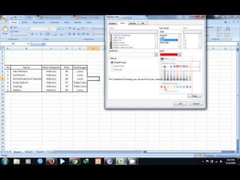 Membuat Tanda Peringatan Dengan Excel