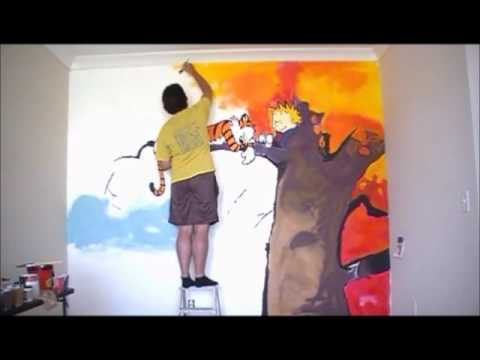 Amazing Calvin And Hobbes Mural Time Lapse Wired