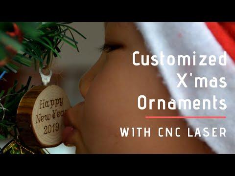 Laser Engrave Slice Wood Christmas Ornaments 2019