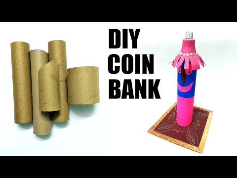 DIY PIGGY BANK | COIN BANK | FROM WASTE TOILET PAPER ROLLS | FLY IN CRAFT