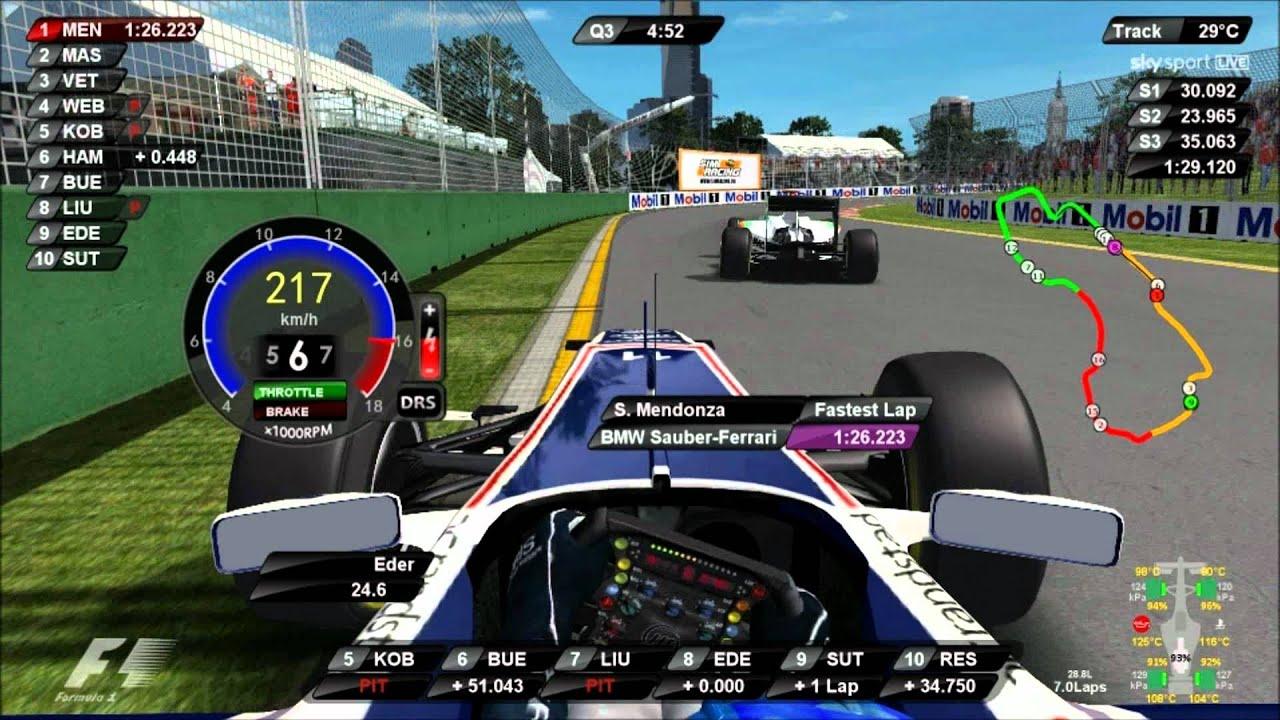rFactor F1 2011 DRS KERS in USE Australia Q3 Driver Virtual Eder Belone - YouTube