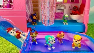 Learn Colors with Paw Patrol Barbie Camper RV Pool Swimming Bathroom   Fizzy Fun Toys