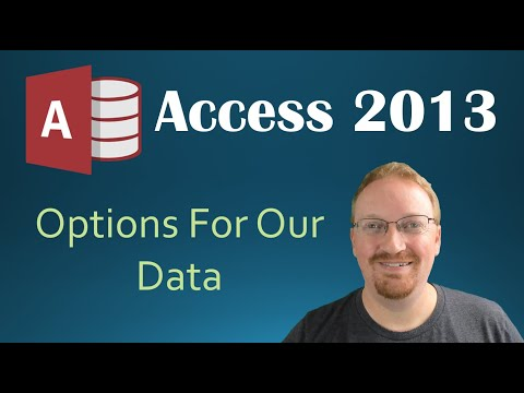 3. Options For Our Data (Programming In Microsoft Access 2013) 🎓