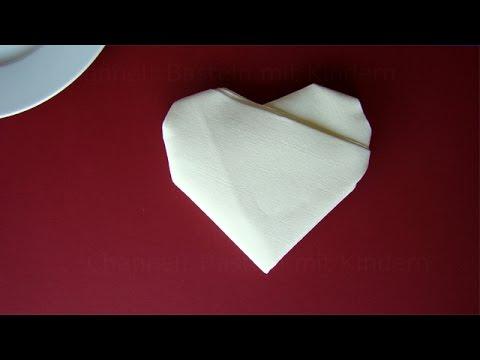 Servietten falten Herz  Tischdeko Hochzeit basteln  DIY
