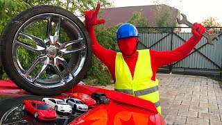 Red Man in Tire Service on Broken Corvette without Wheels & Found Toy Cars Lamborghini for Kids