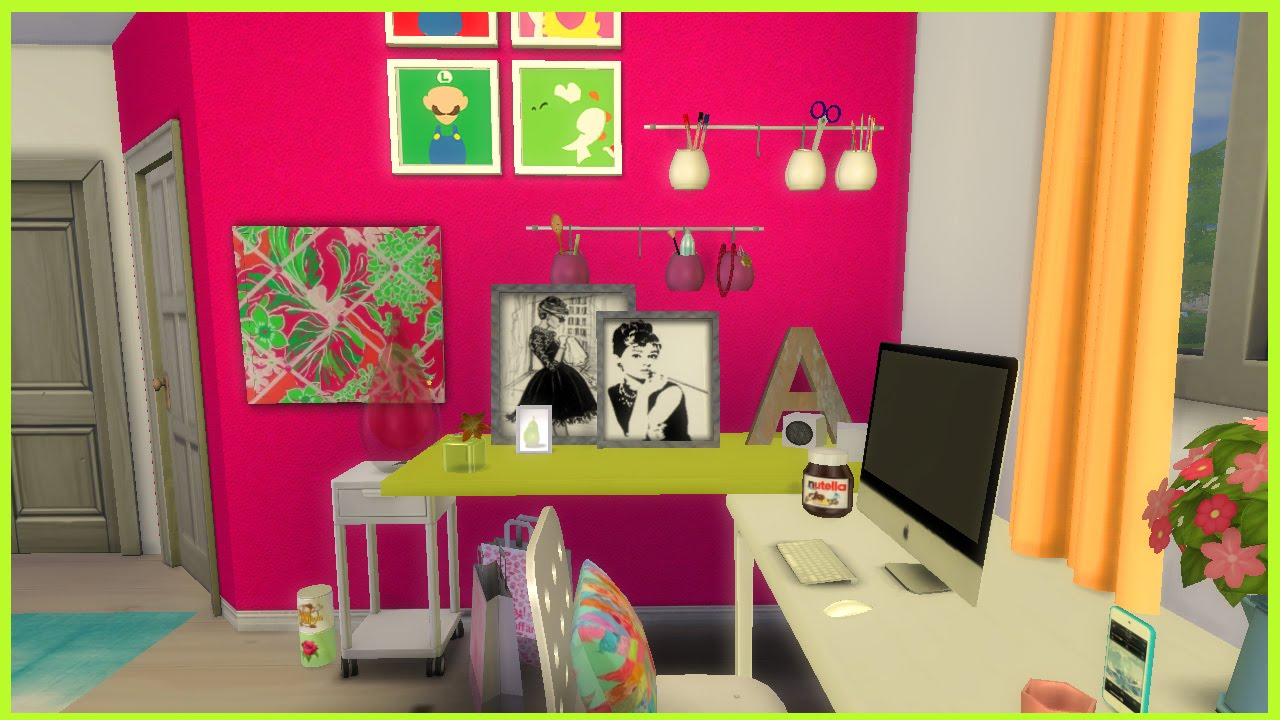 The sims 4 colourful teen bedroom cc youtube for Bedroom designs sims 4