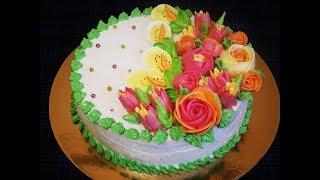 Украшение торта в домашних условиях ЦВЕТЫ из белково заварного крема