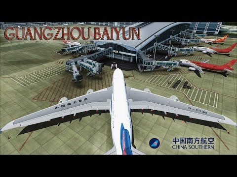 FSX [HD] - China Southern | Airbus A380 | Stormy Departure Guangzhou