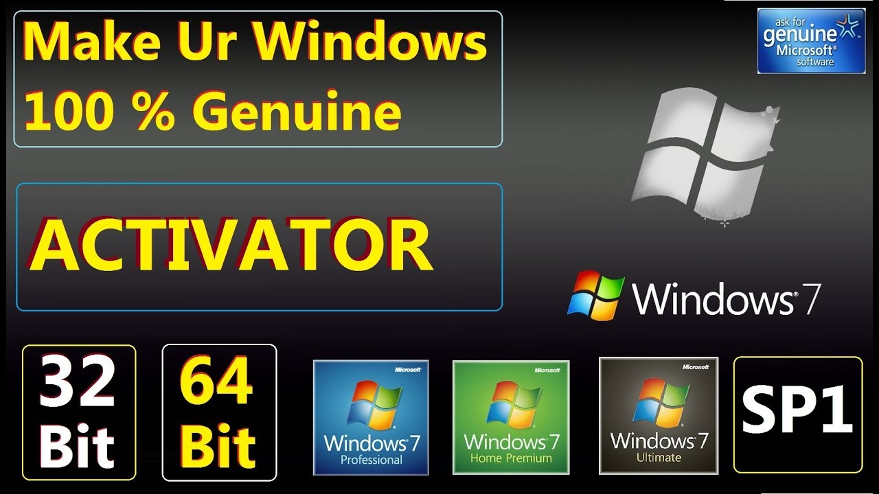 Activate windows 7 Ultimate SP1 32bit and 64bit Free  For Life Time Updates