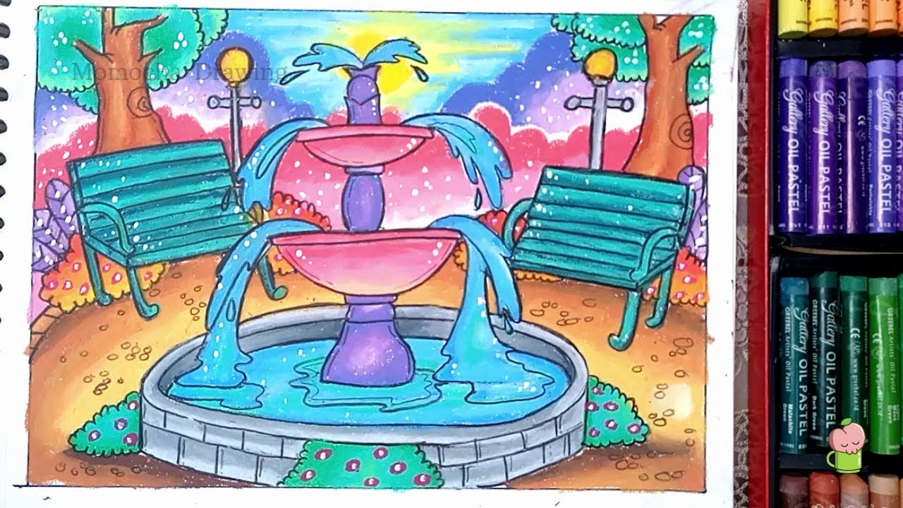 How To Draw And Coloring Fountain In Park Scenery Step By Step Easy For Kids With Oil Pastel