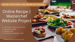 Online Recipe / Masterchef Website Project in ASP.Net with C#.Net & Sql Server