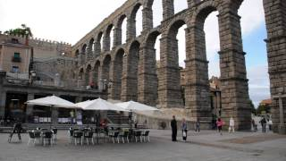 Ancient Roman Aqueduct in Segovia, Spain. June 2013.