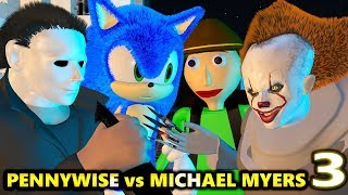 PENNYWISE vs MICHAEL MYERS HALLOWEEN BALDI 3! SONIC.EXE CHALLENGE! (official) Minecraft Animation