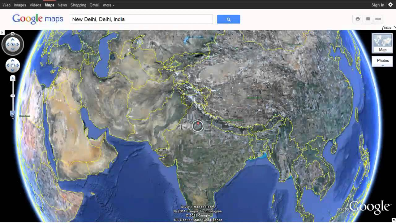 Earth Map India India as seen on Google Earth using Google Maps   YouTube