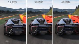 15FPS VS 30FPS VS 60FPS - FPS Difference on Racing Game - [Game Project Cars Frame Rate Comparison]