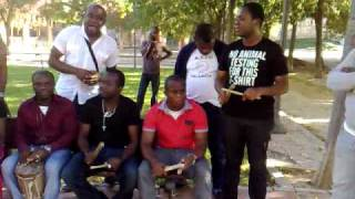African, Abiriba war dance in Valencia Spain during training, pt 6