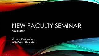 new faculty seminar human resources