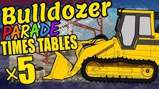 Construction Bulldozer Teaching Multiplication Times Tables x5 Educational Math Video for Kids