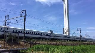 2018.7.14(土)13:12 東海道新幹線(フジテックのエレベータ研究塔近く)