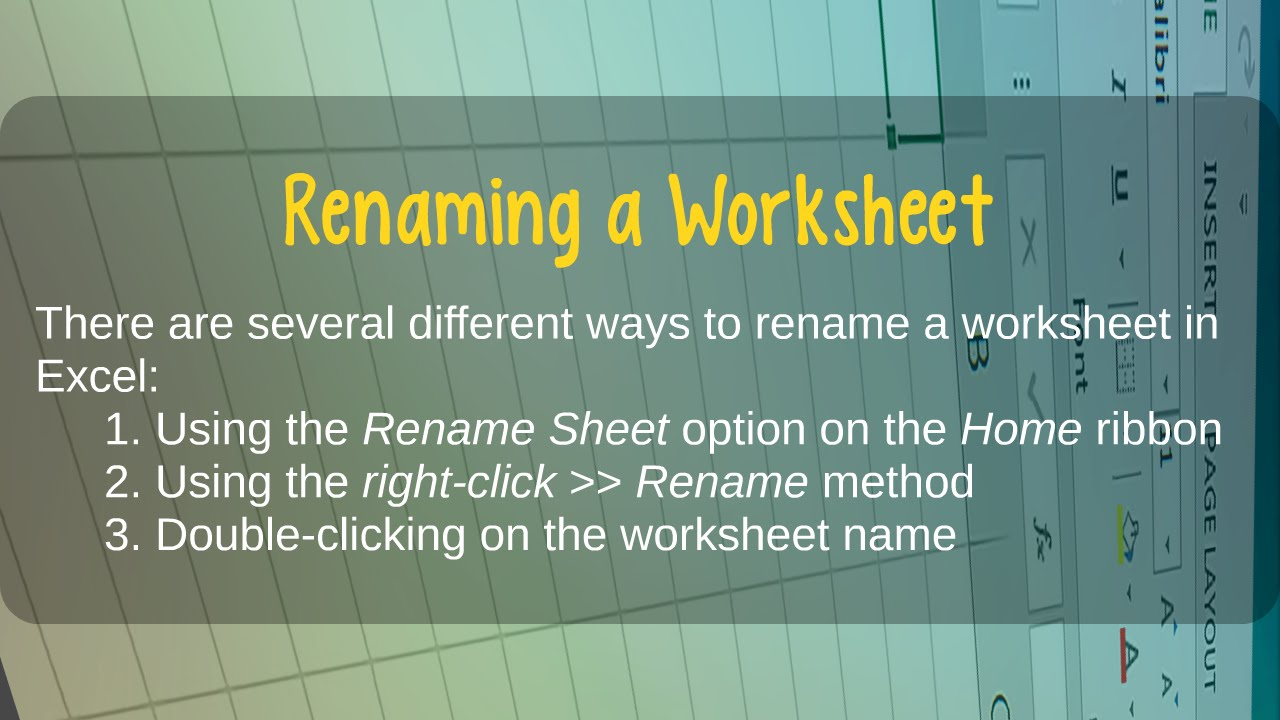 How To Rename A Worksheet In Microsoft Excel Youtube