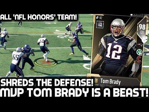 HONORS MVP TOM BRADY SHREDS THE DEFENSE! ALL NFL HONORS TEAM! Madden 18 Ultimate Team