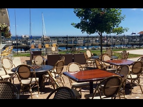 The Harbor's Edge dockside outdoor cafe at the Waukegan Harbor & Marina in Waukegan, Illinois