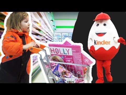 Ogromno KINDER JAJE u supermarketu Kupujemo slatkise / LUTKA 82 cm / Buying KINDER MAXI egg Huge toy