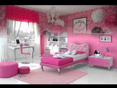 Pink wallpaper design ideas for girls room youtube for Girls bedroom wallpaper ideas